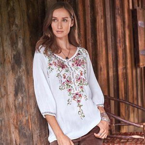 Johnny Was Jardine Blouse Tunic White Floral Med